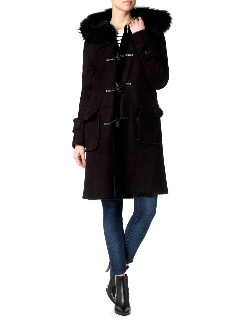 Dlux Black Shearling Duffle Coat in Black | Lyst