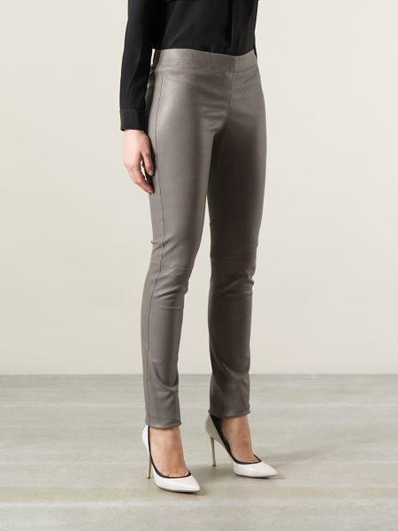 Joseph Leather Leggings in Gray (grey) | Lyst