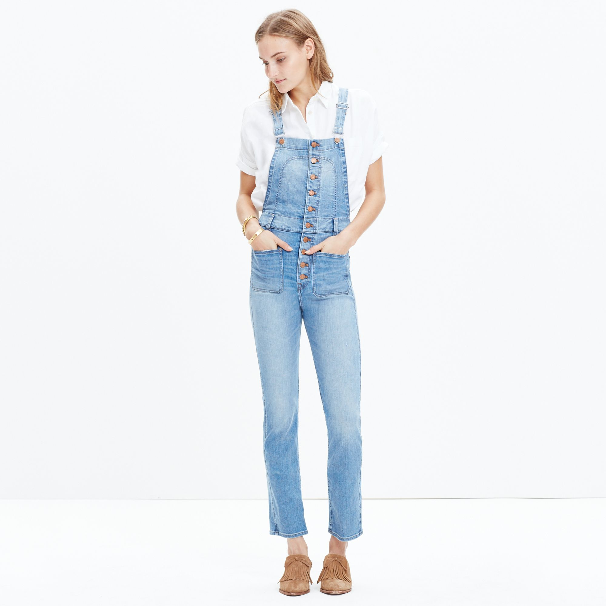 e3a54fc0c1ac Madewell Bayfront Crop Overalls in Blue - Lyst