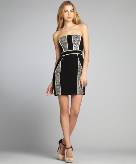 Max Amp Cleo Black And White Crepe Sequined Strapless Hailey