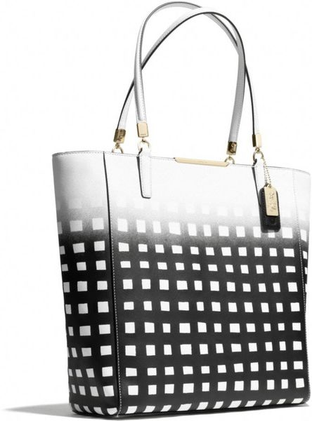 Coach Madison Northsouth Tote In Gingham Saffiano Leather