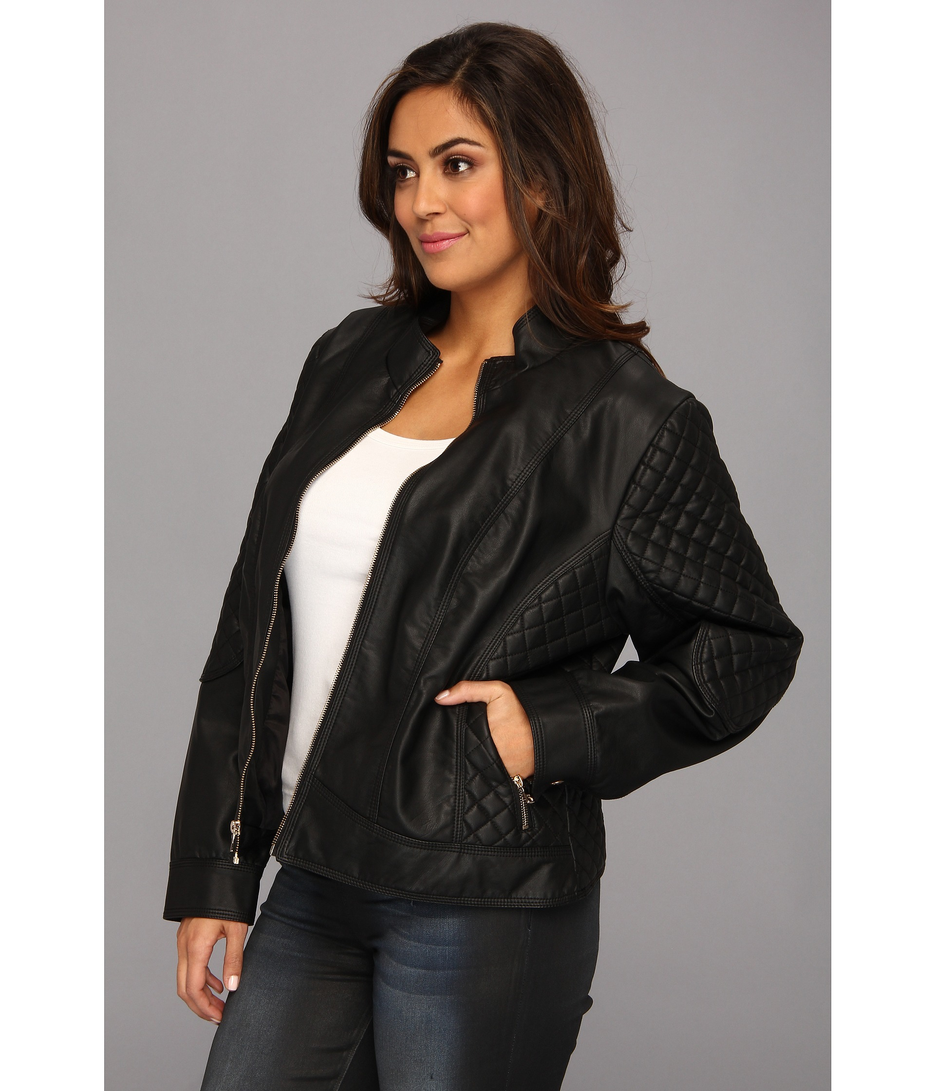 Jessica simpson Plus Size Quilted Faux Leather Moto Jacket with ...