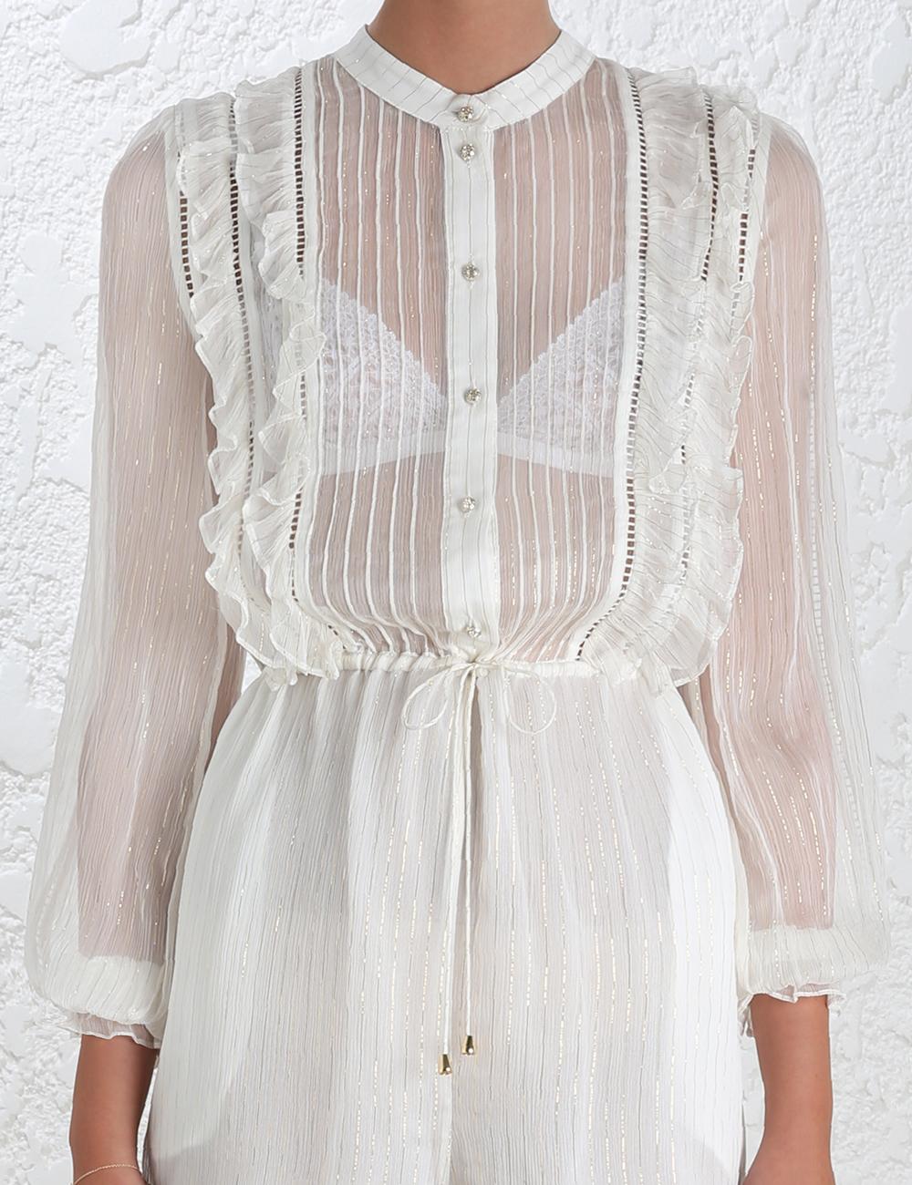 78596576ad7 Lyst - Zimmermann Mischief Frill Playsuit in White