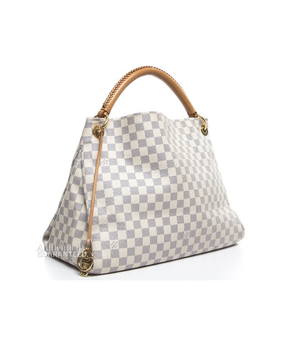 Louis Vuitton Trash Bags Gallery Louis Vuitton Pre Owned Damier Azur Artsy Mm Bag In White Lyst