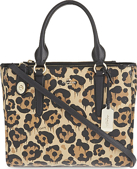 56b9b2755 COACH Crosby Leopard Print Leather Over The Shoulder Handbag - For ...