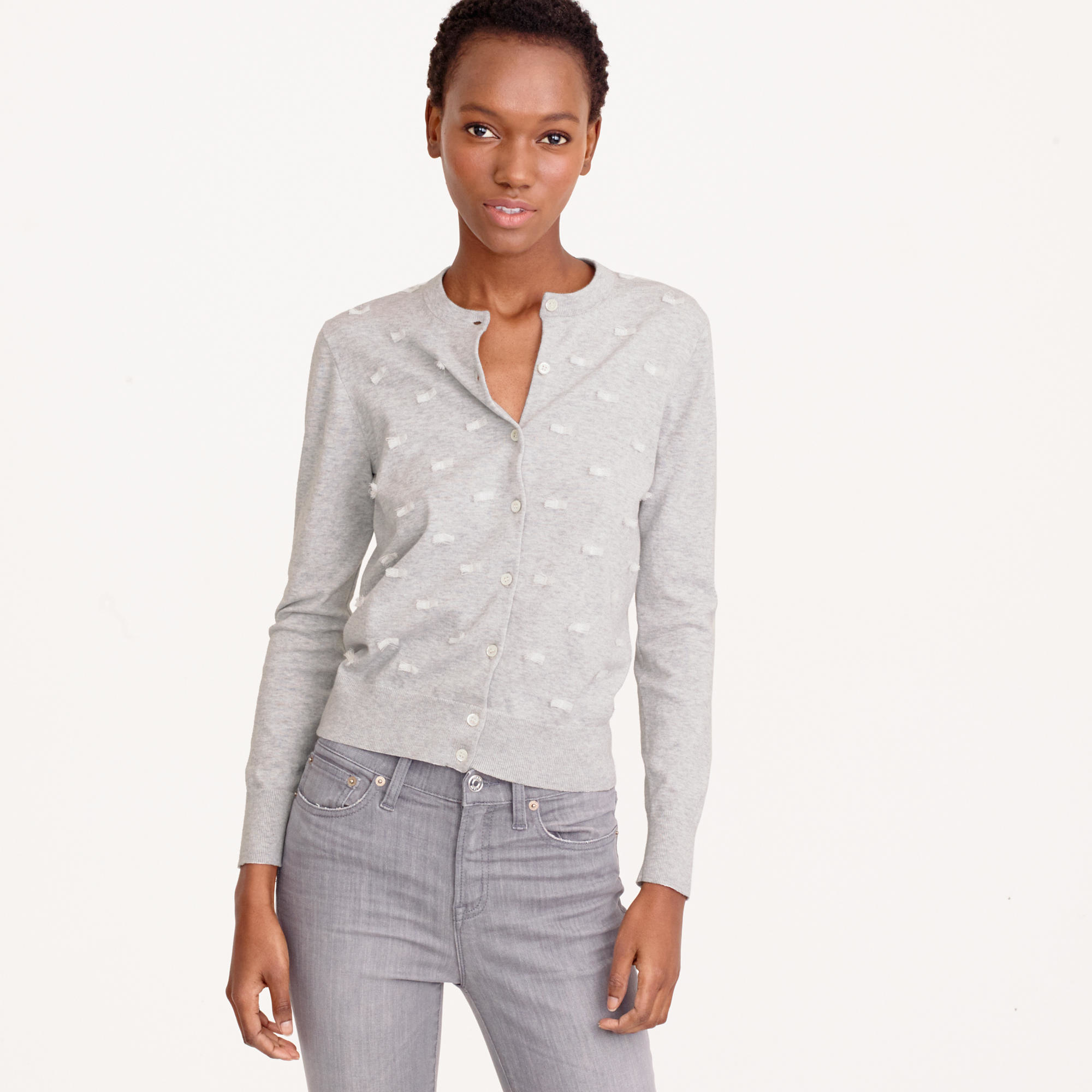 J.crew Clip-dot Cotton Jackie Cardigan Sweater in Gray | Lyst