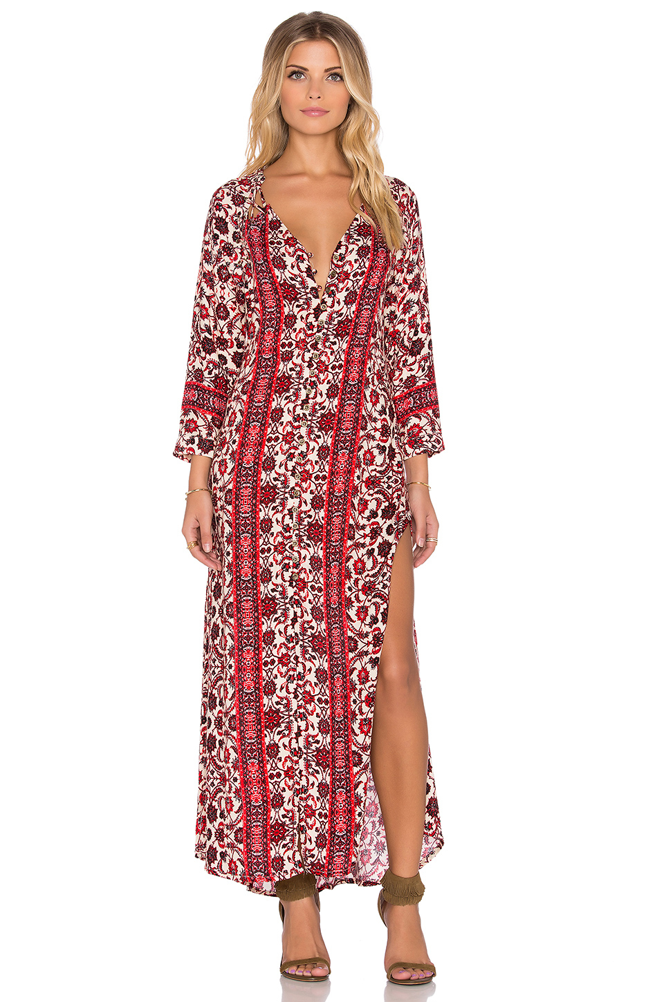 Gypsy 05 Printed Lace Maxi Dress in White | Lyst