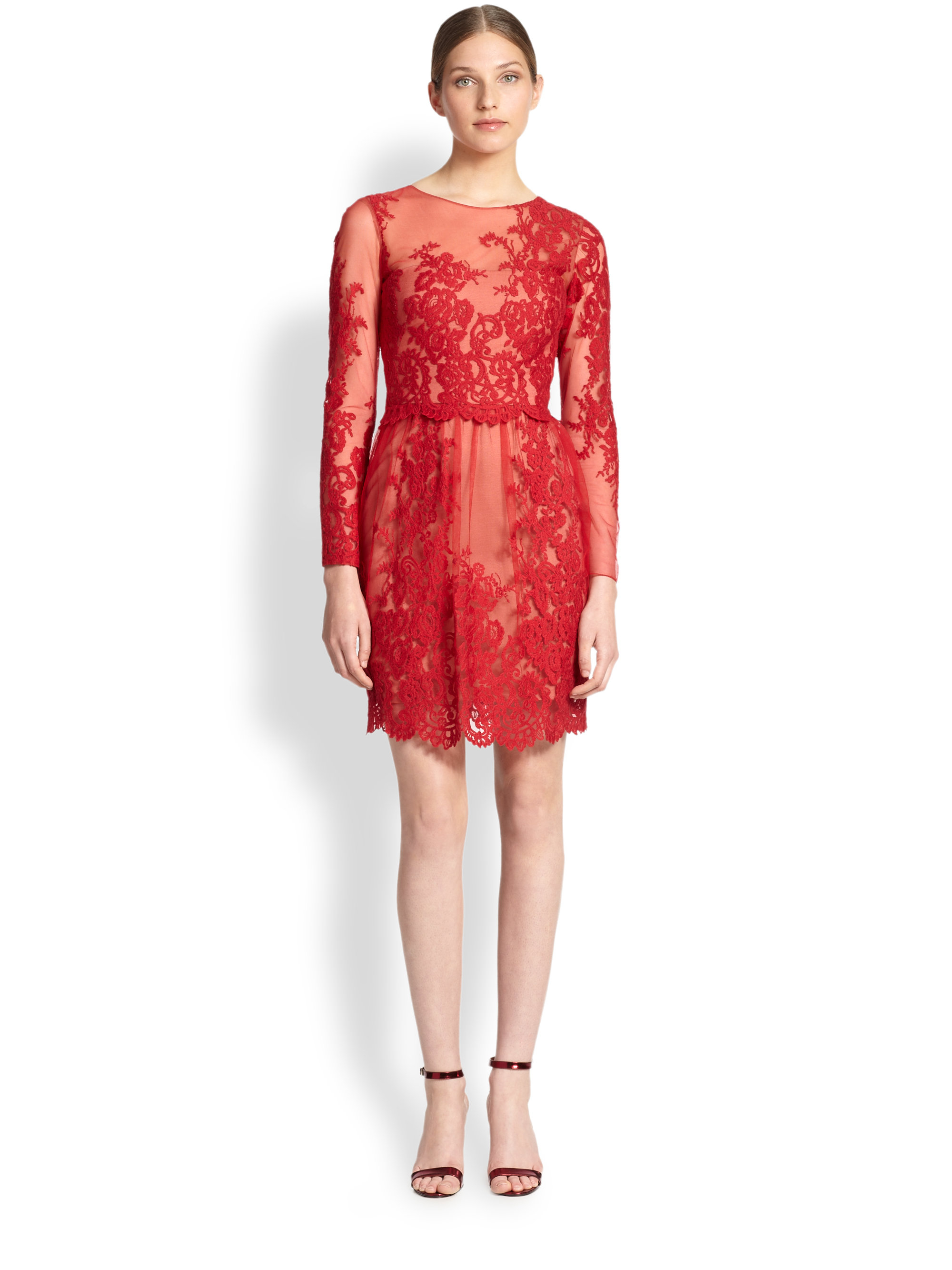 Lyst notte by marchesa embroidered lace dress in red