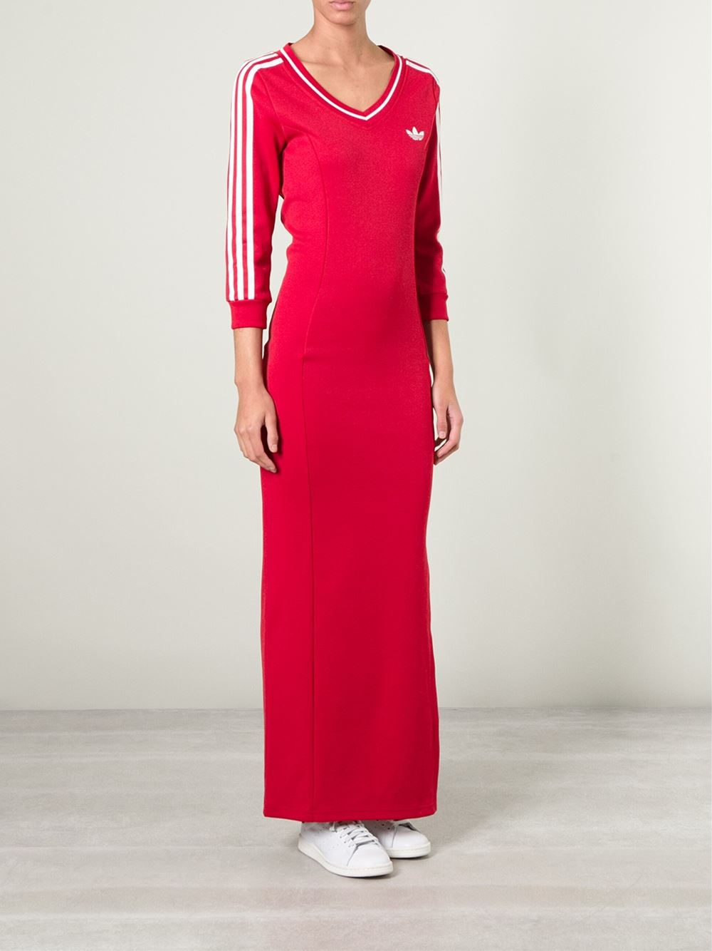 cbe4d07fcfd adidas Long Line Jersey Dress in Red - Lyst