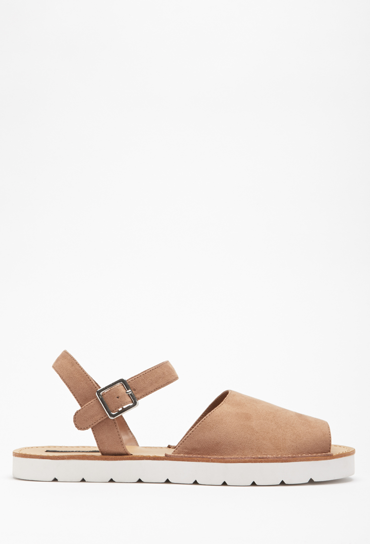 400e2064e1bf Lyst - Forever 21 Faux Suede Avarca Sandals in Brown