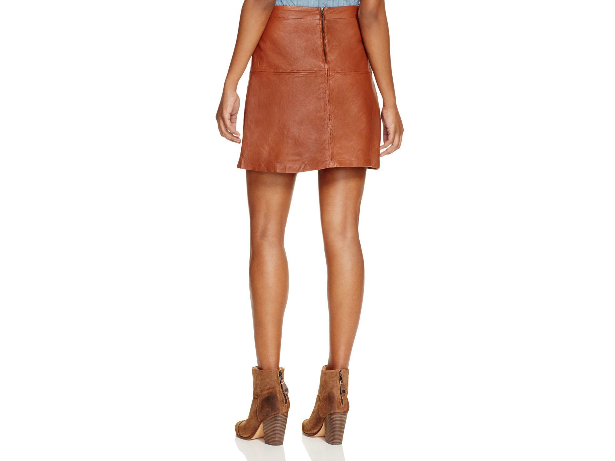 sanctuary ella leather mini skirt in brown lyst