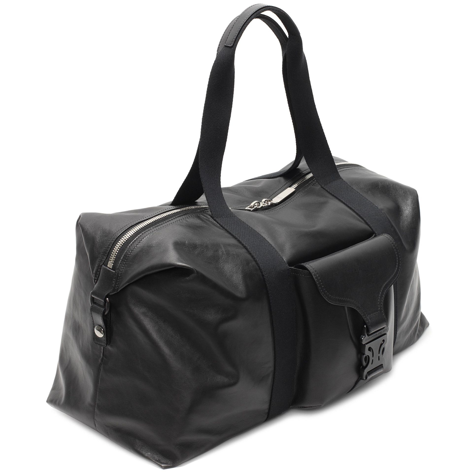 Lyst - Alexander McQueen Leather Tech Gym Bag in Black for Men bf79800954851