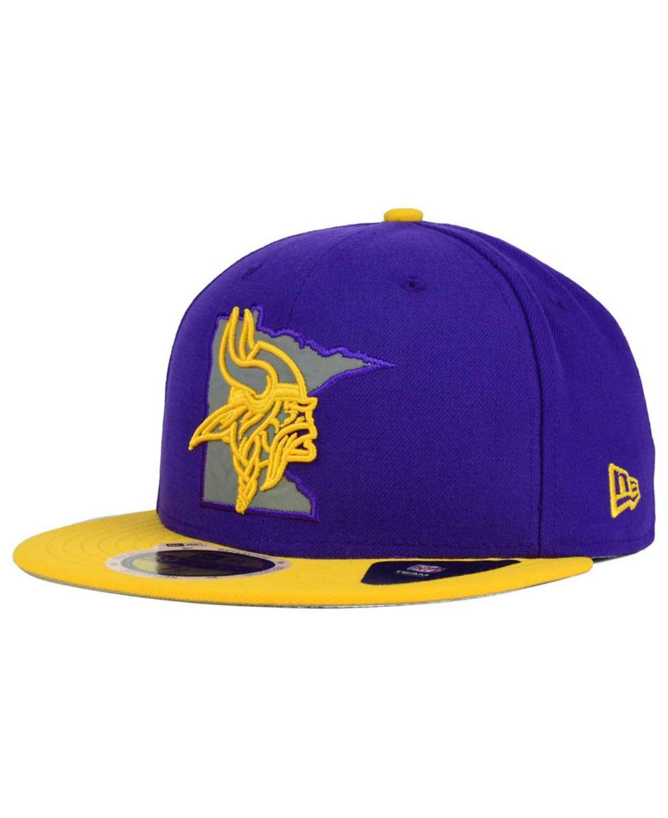 Lyst - KTZ Minnesota Vikings State Flective Redux 59fifty Cap in ... 8cc009d49