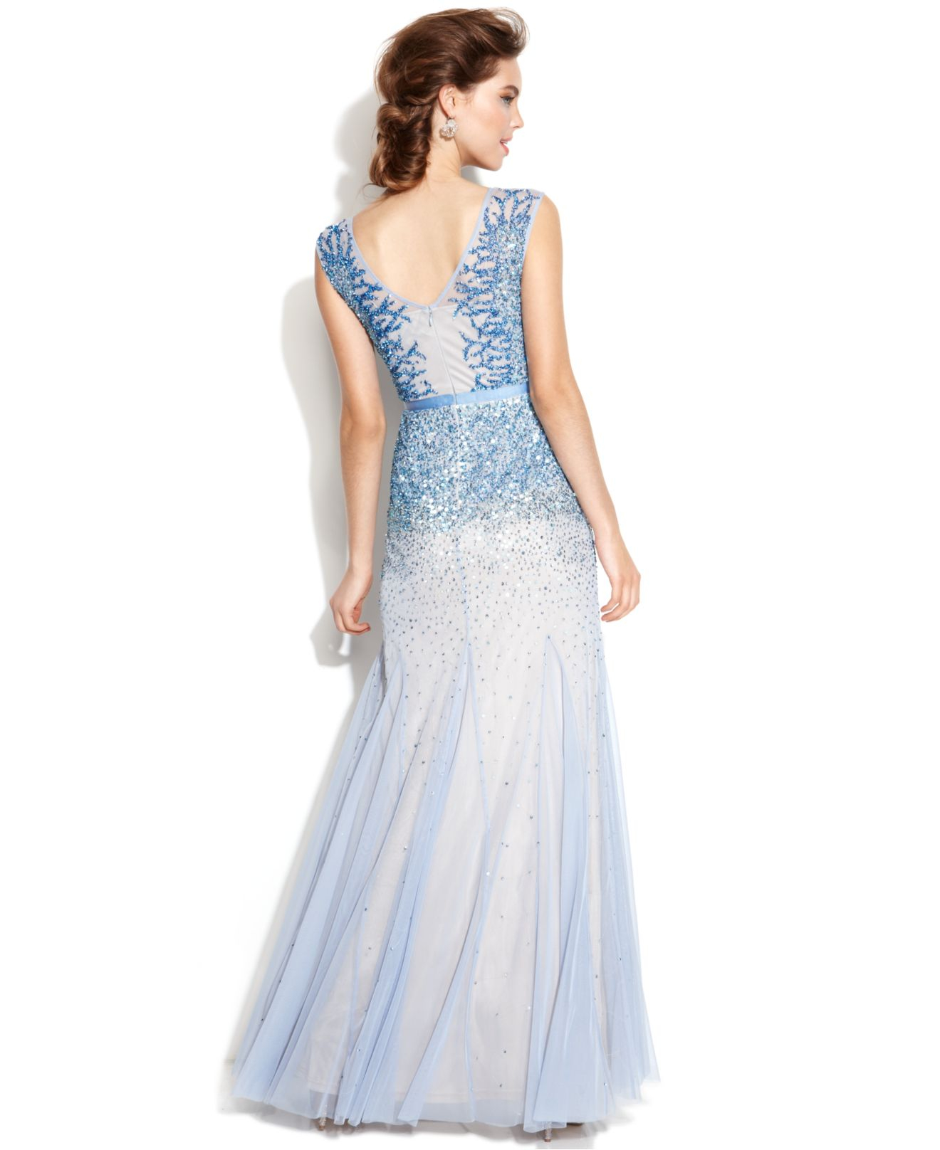 Adrianna papell Sleeveless Beaded Illusion Gown in Blue  Lyst