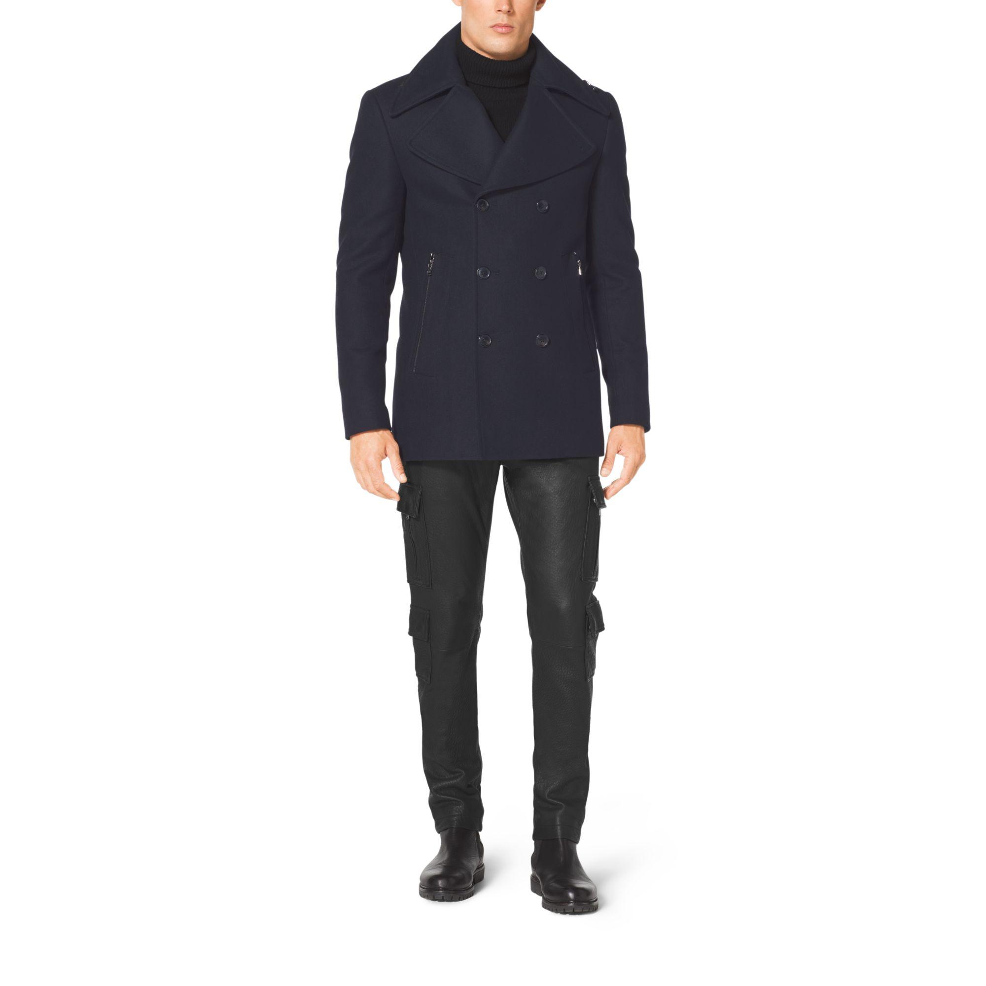 michael kors melton wool peacoat in blue for men lyst. Black Bedroom Furniture Sets. Home Design Ideas