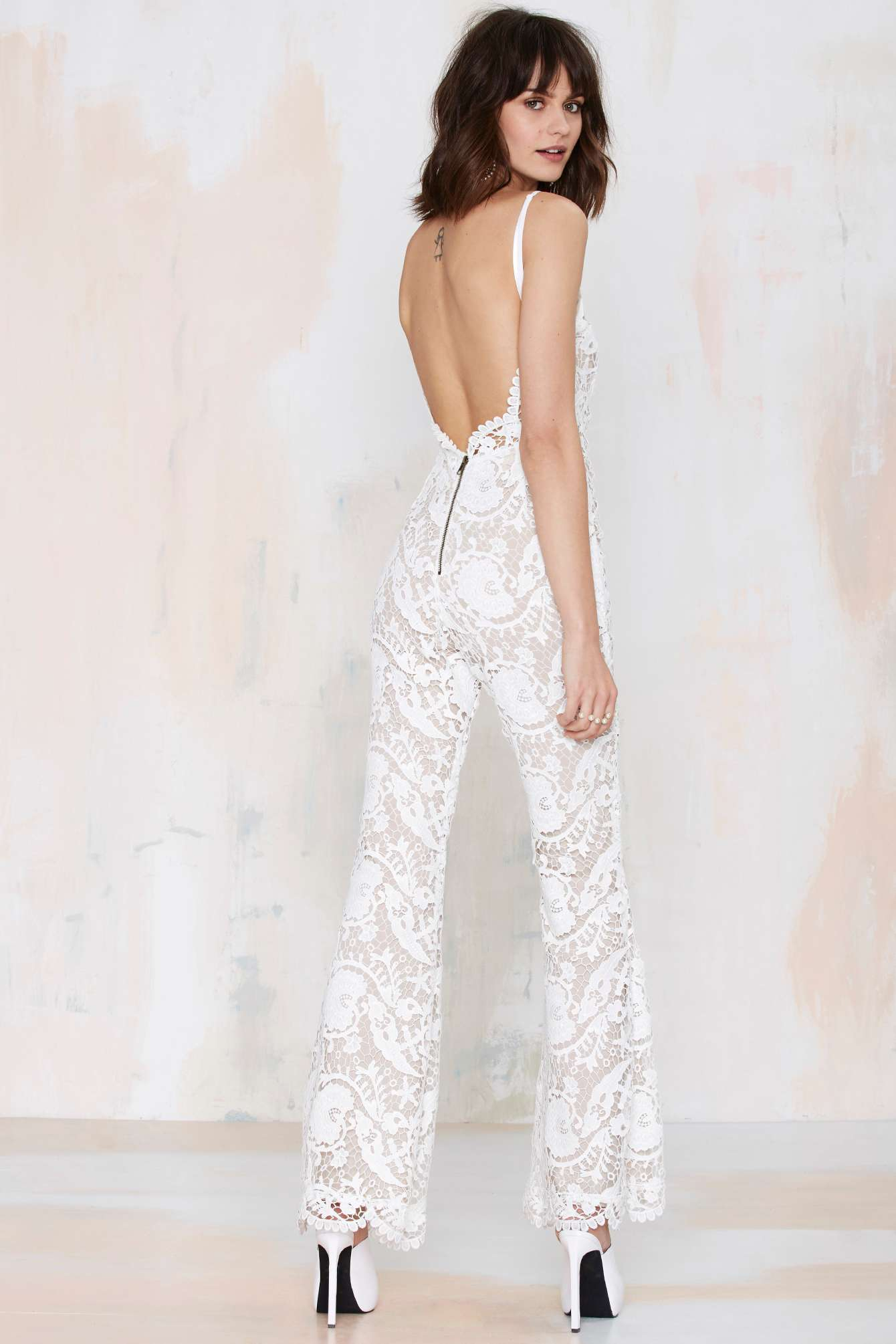 d5fdd4249ef Lyst - Nasty Gal Stone Cold Fox Elliot Lace Flare Jumpsuit in White