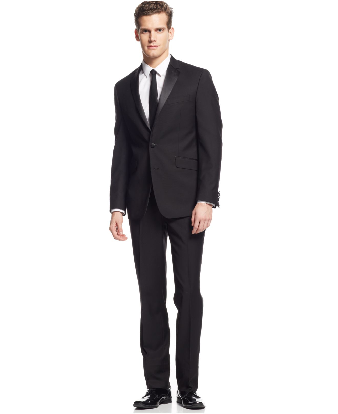 Kenneth Cole Reaction Slim Fit Black Tuxedo In Black For