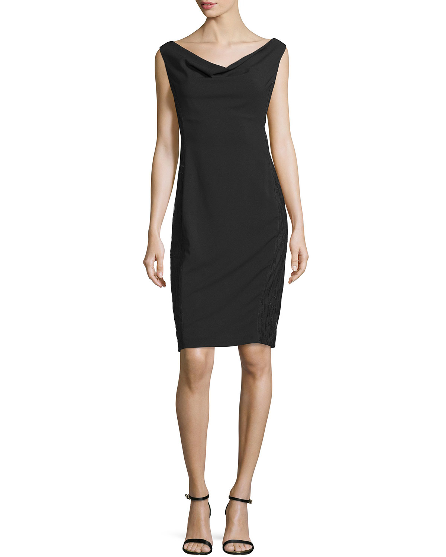 Cowl Neck Sheath Dresses: Rene Ruiz Sleeveless Cowl-neck Sheath Dress In Black