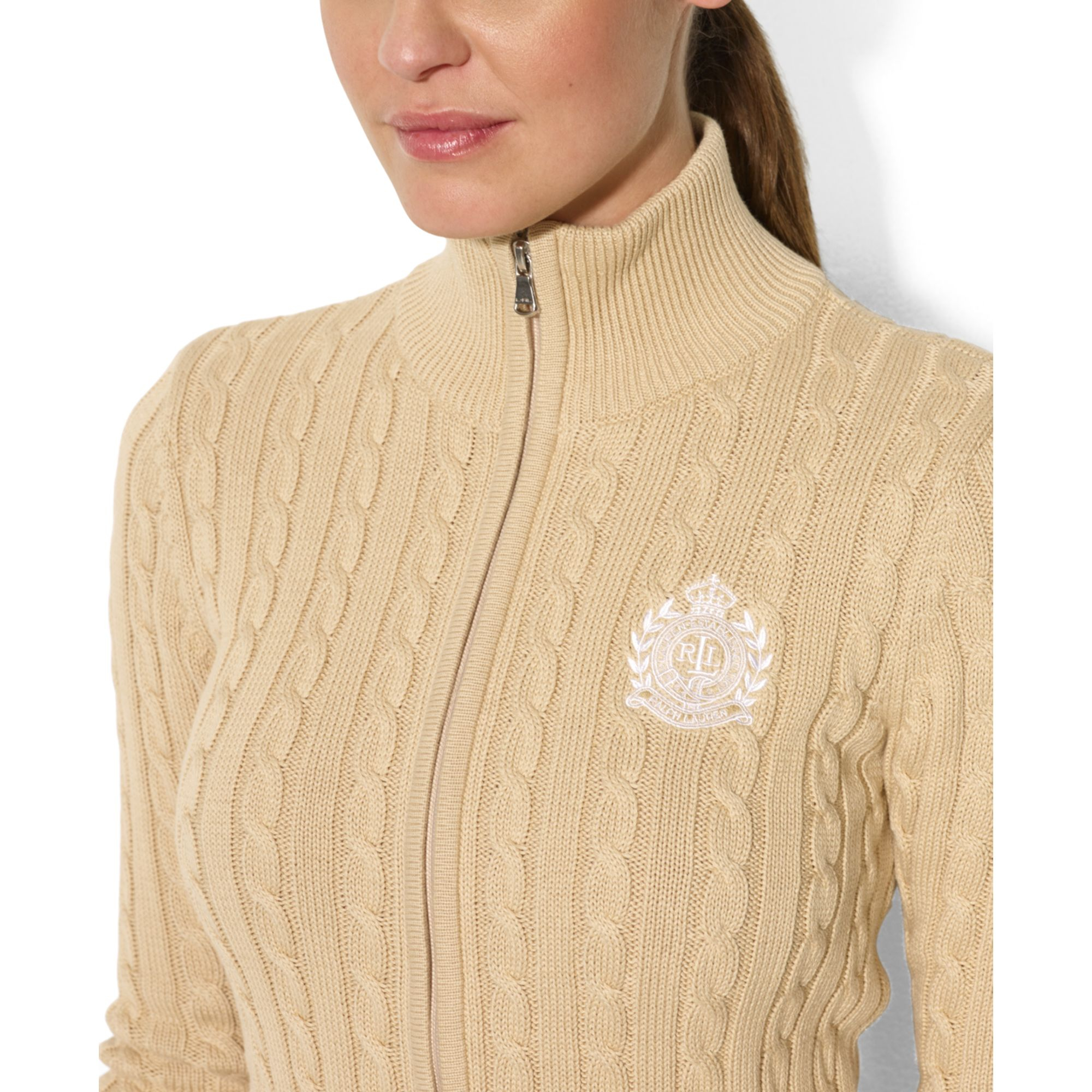 Lauren By Ralph Lauren Cableknit Zipup Cardigan In Tan