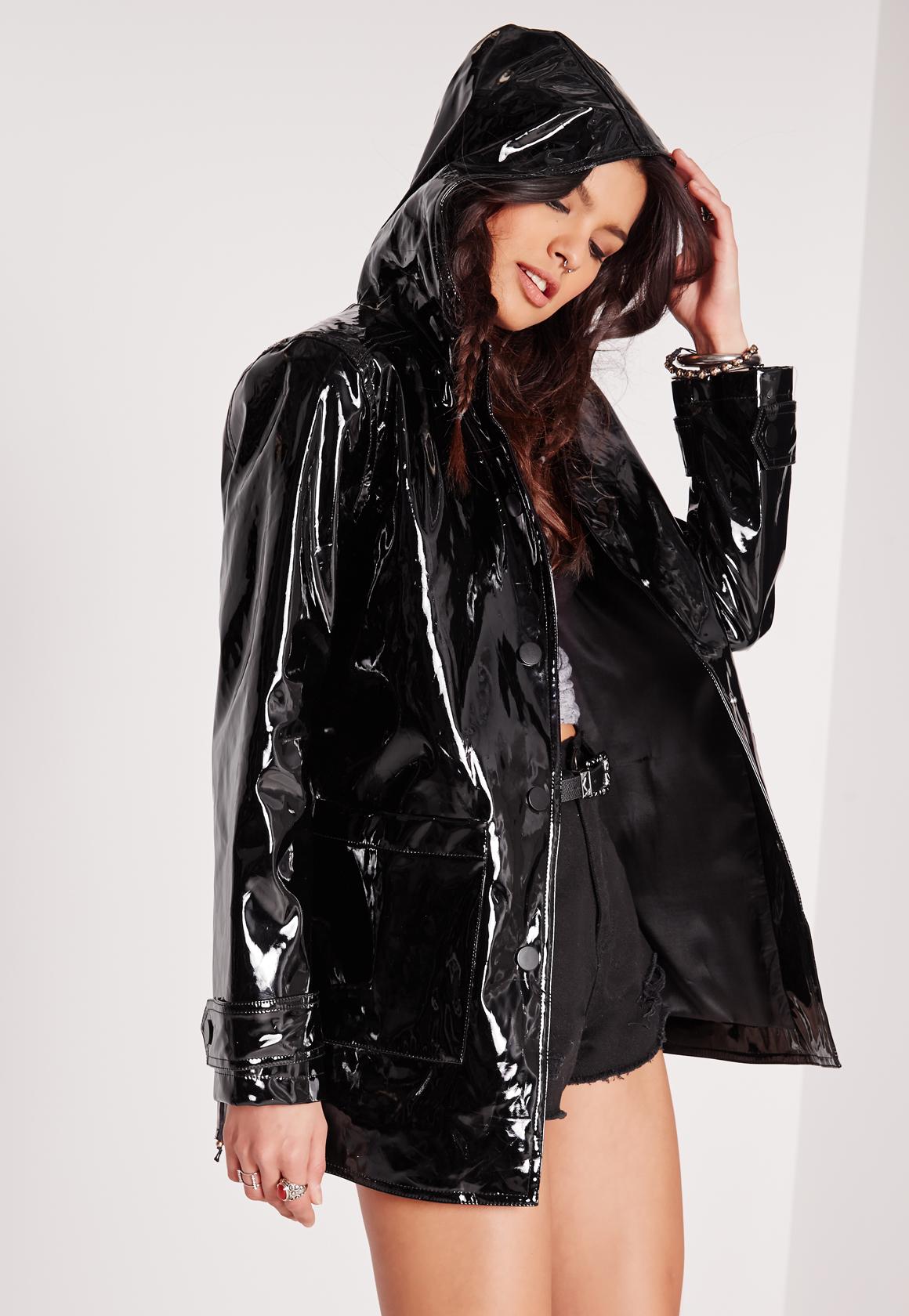 Missguided High Shine Rain Mac Black In Black Lyst
