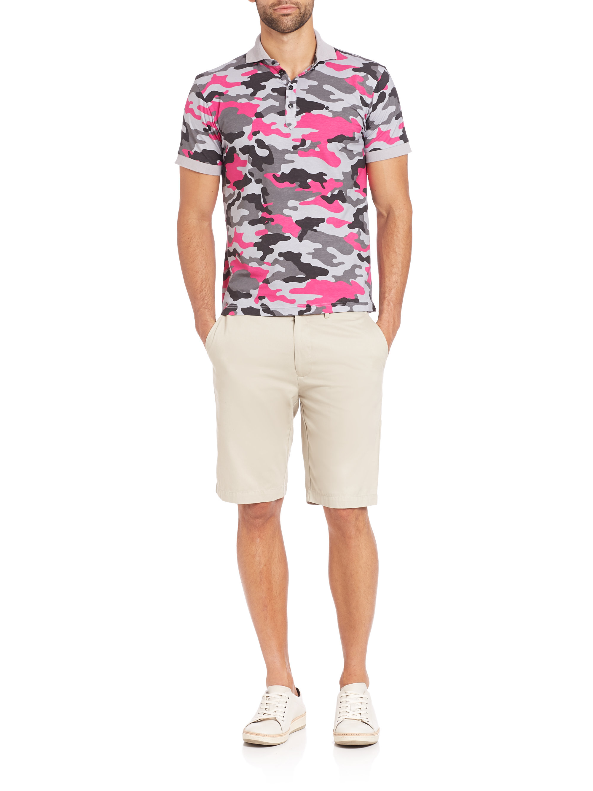 Lyst - G FORE Camo Polo in Pink for Men b289f51f3