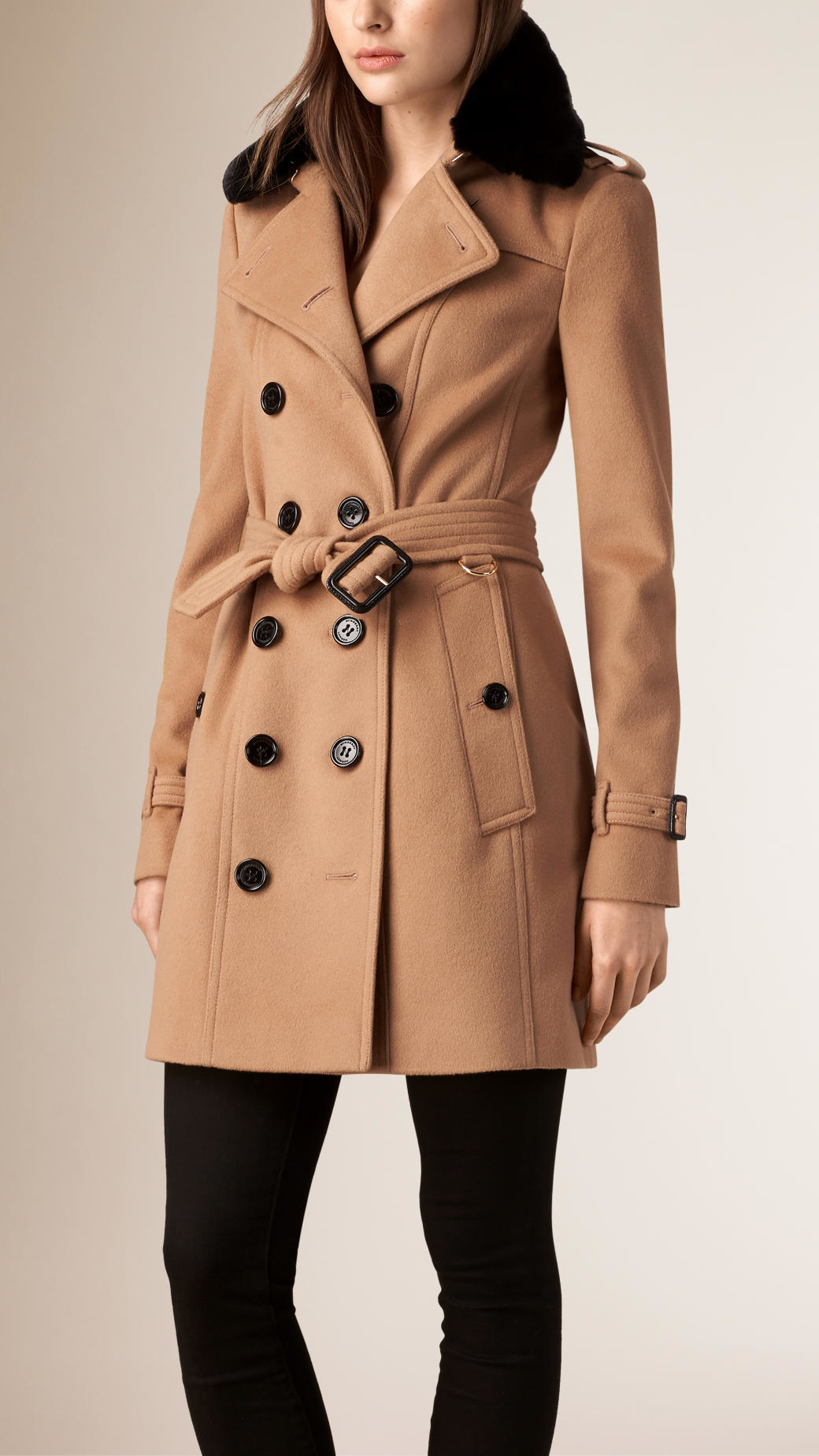 Burberry Fur Collar Wool Cashmere Trench Coat in Natural | Lyst