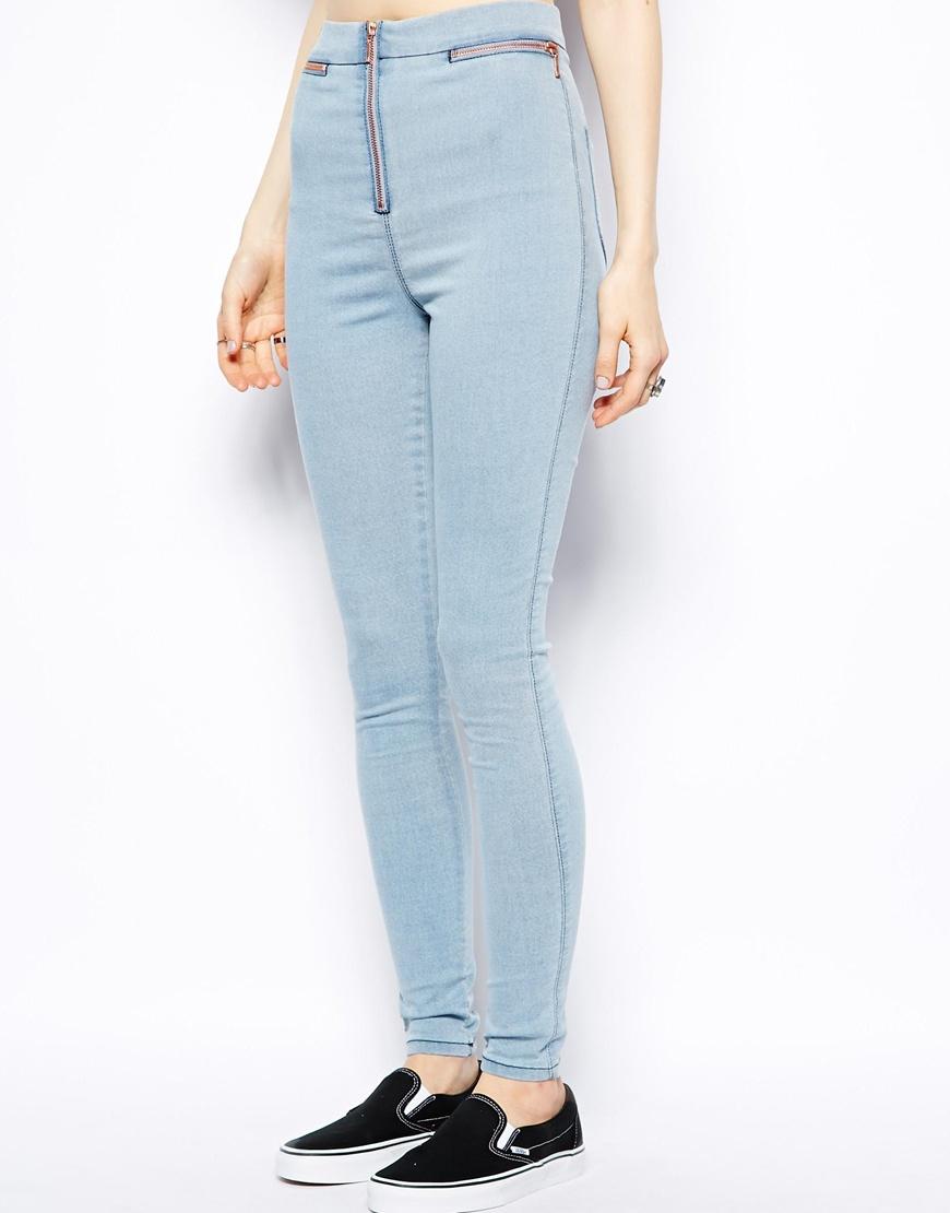 Gallery. Women's Jeggings Women's Light Wash Jeans - Asos High Waist Denim Jeggings In Light Wash With Zip Detail In