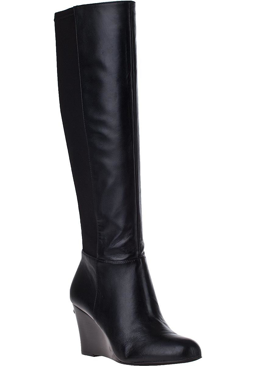 Michael michael kors Bromley Wedge Tall Boot Black Leather in ...