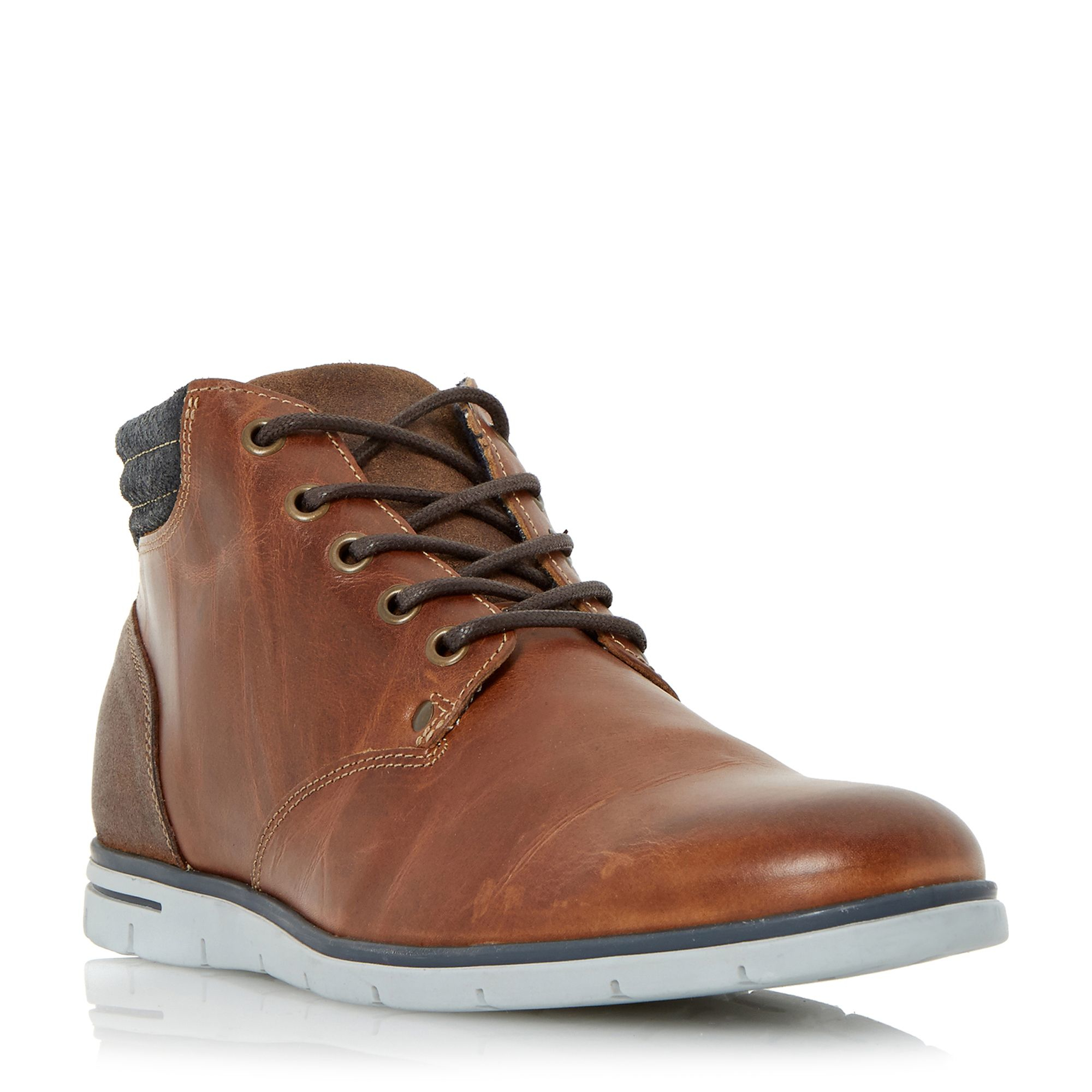 Dune Cane Wedge Sole Leather Lace Up Boots In Blue For Men