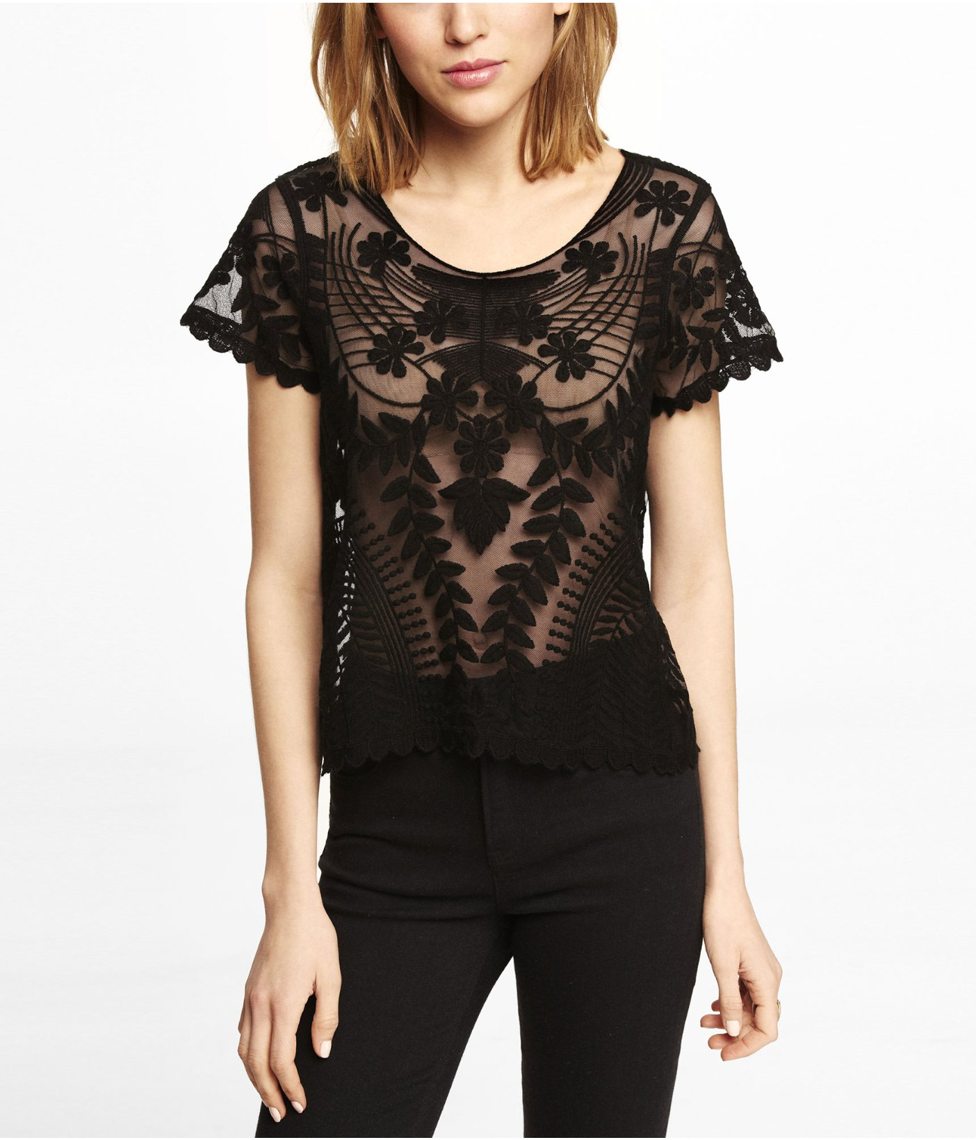 Black t shirt with lace - Short Sleeve Lace Shirt Re Re