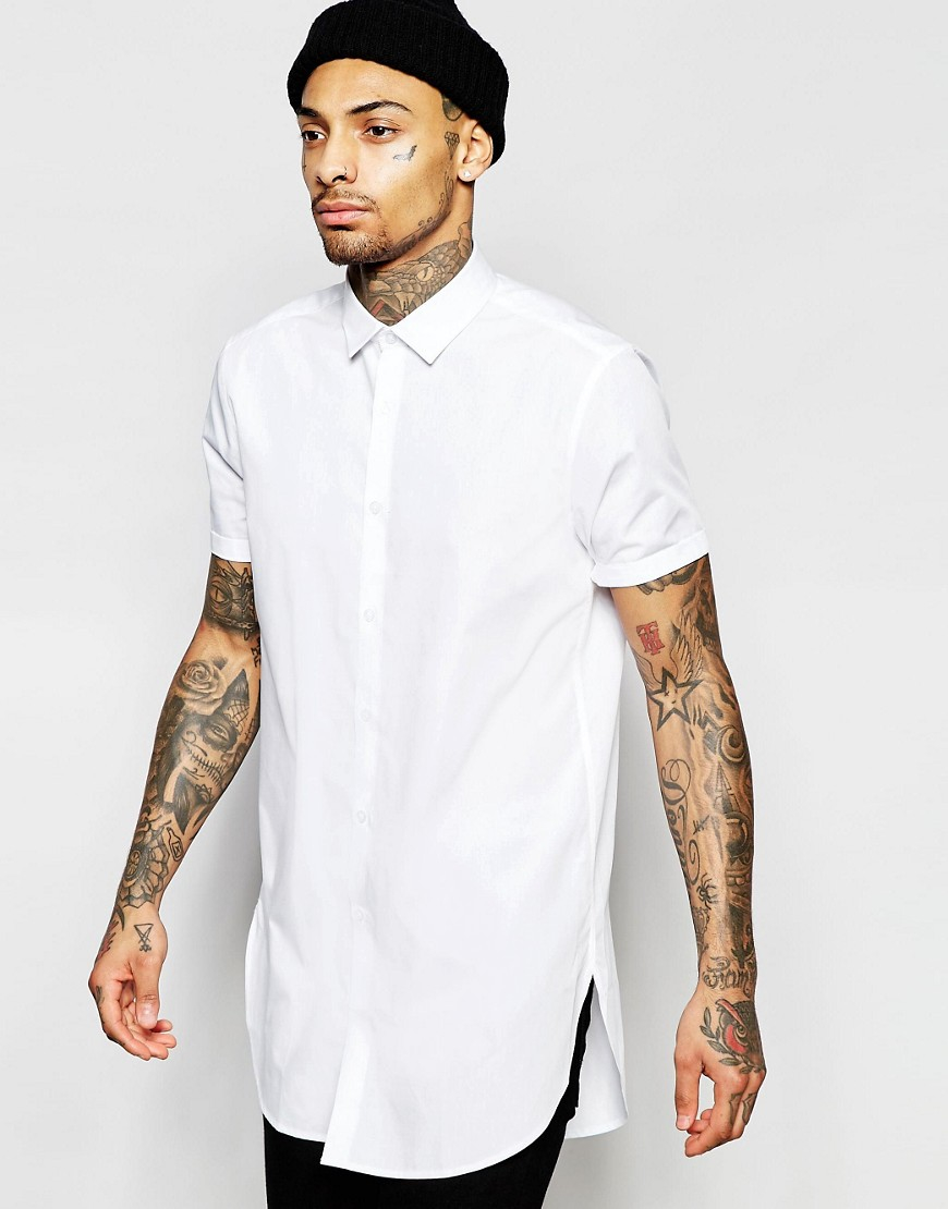 Asos White Shirt In Super Longline in White for Men | Lyst