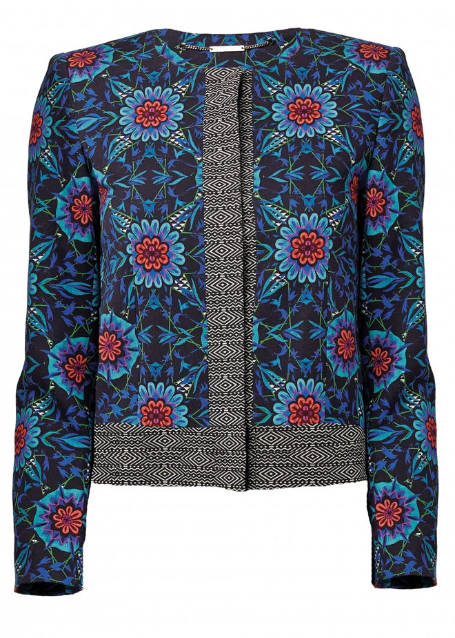 Matthew Williamson embellished brocade jacket crafted from silk blends. This statement garment has central hook and eye closure and an embellished neckline. This statement garment has central hook and eye closure and an embellished neckline.
