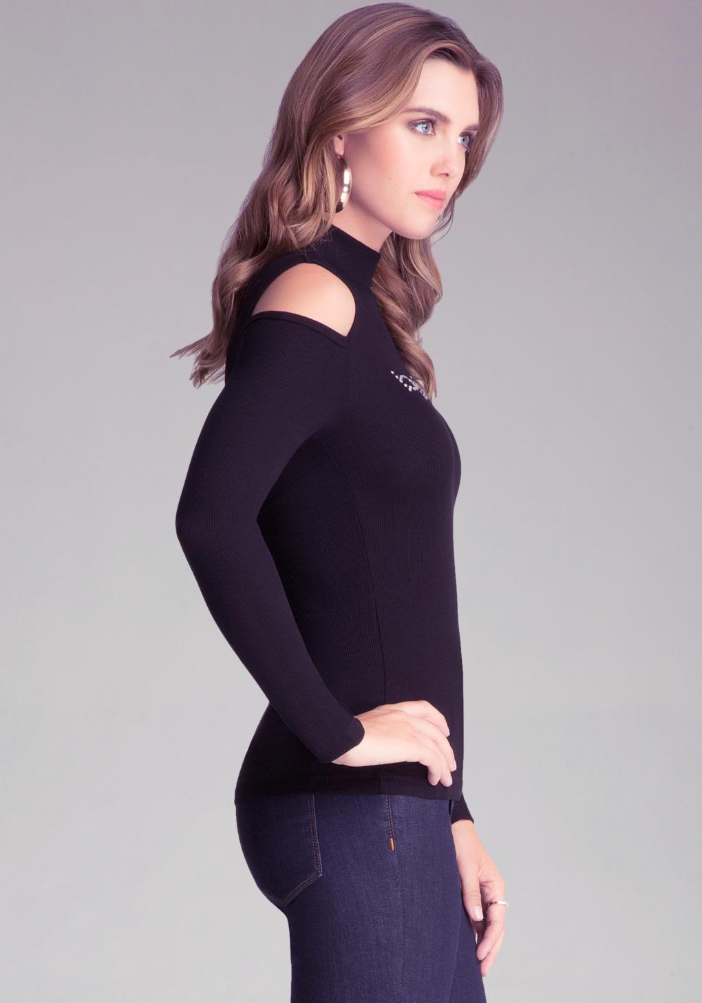 ea744913f5ce4 Lyst - Bebe Cold Shoulder Mock Neck Top in Black