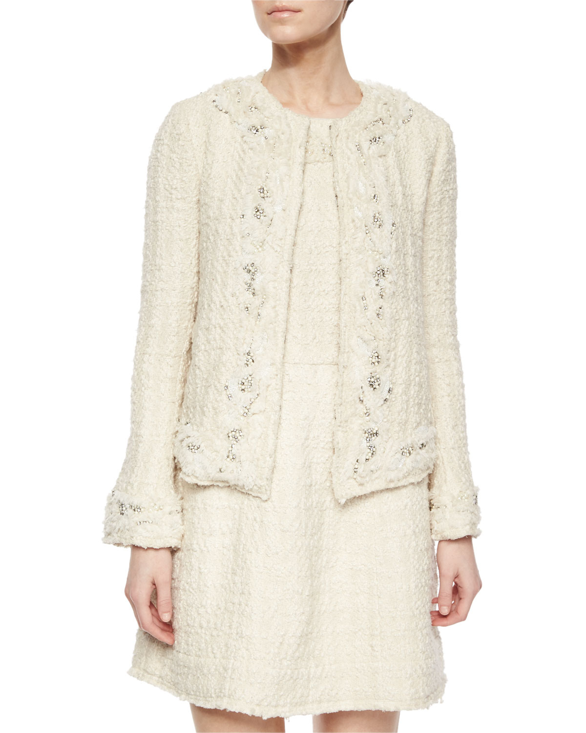 Alice   olivia Nilla Embellished Tweed Jacket in Natural | Lyst