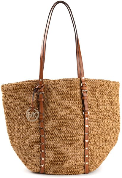 michael by michael kors woven shopper tote in brown lyst. Black Bedroom Furniture Sets. Home Design Ideas