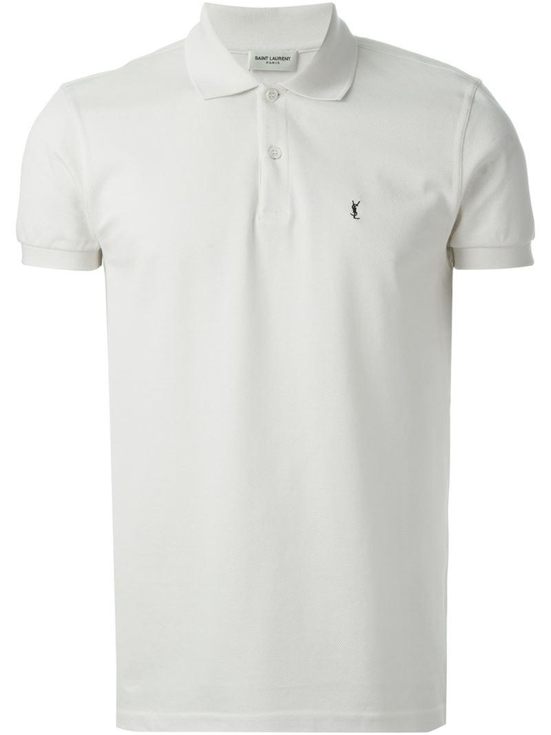 113220eb5759e7 Lyst - Saint Laurent Classic Polo Shirt in White for Men