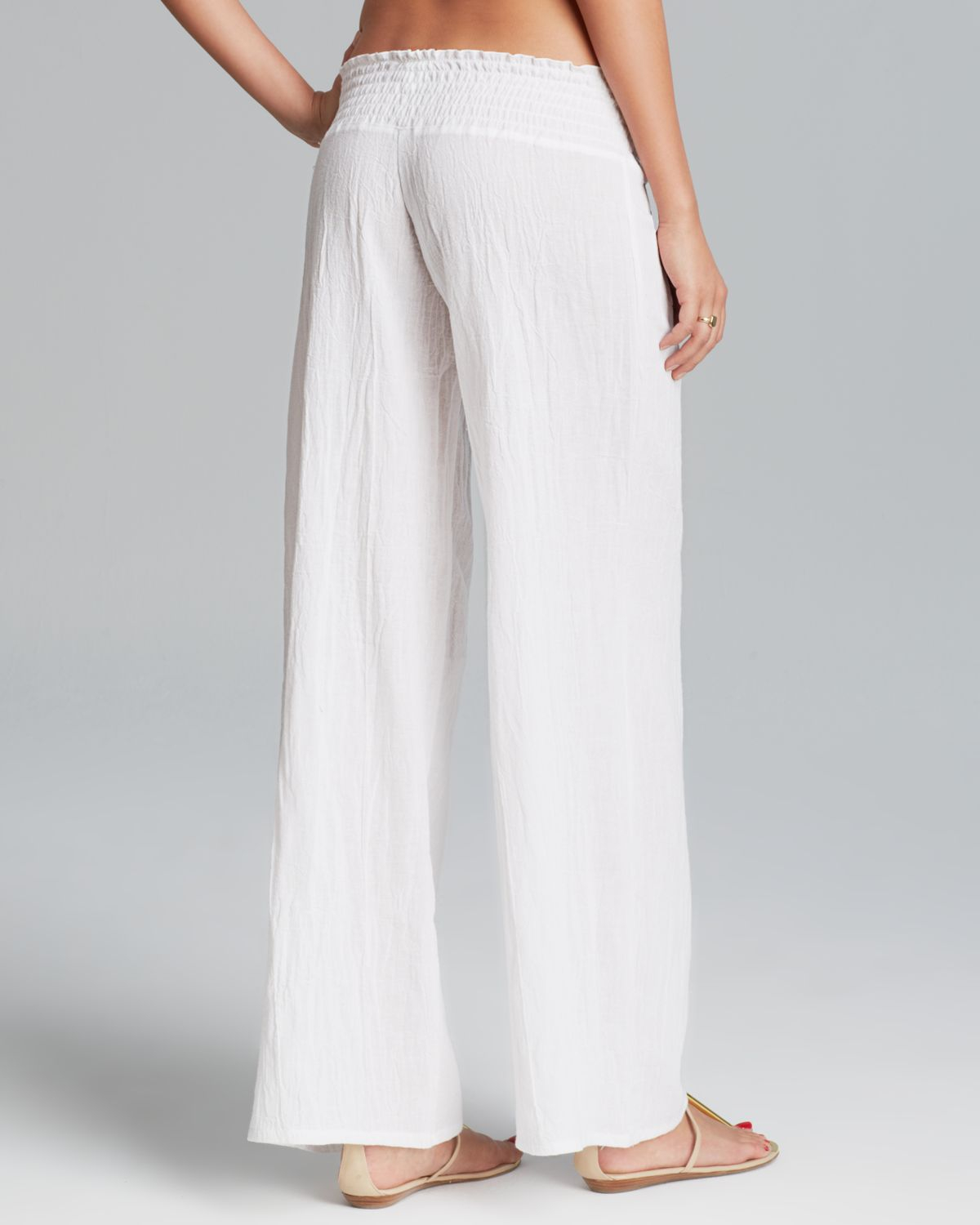 Debbie katz Gauze Swim Cover Up Pants in White | Lyst