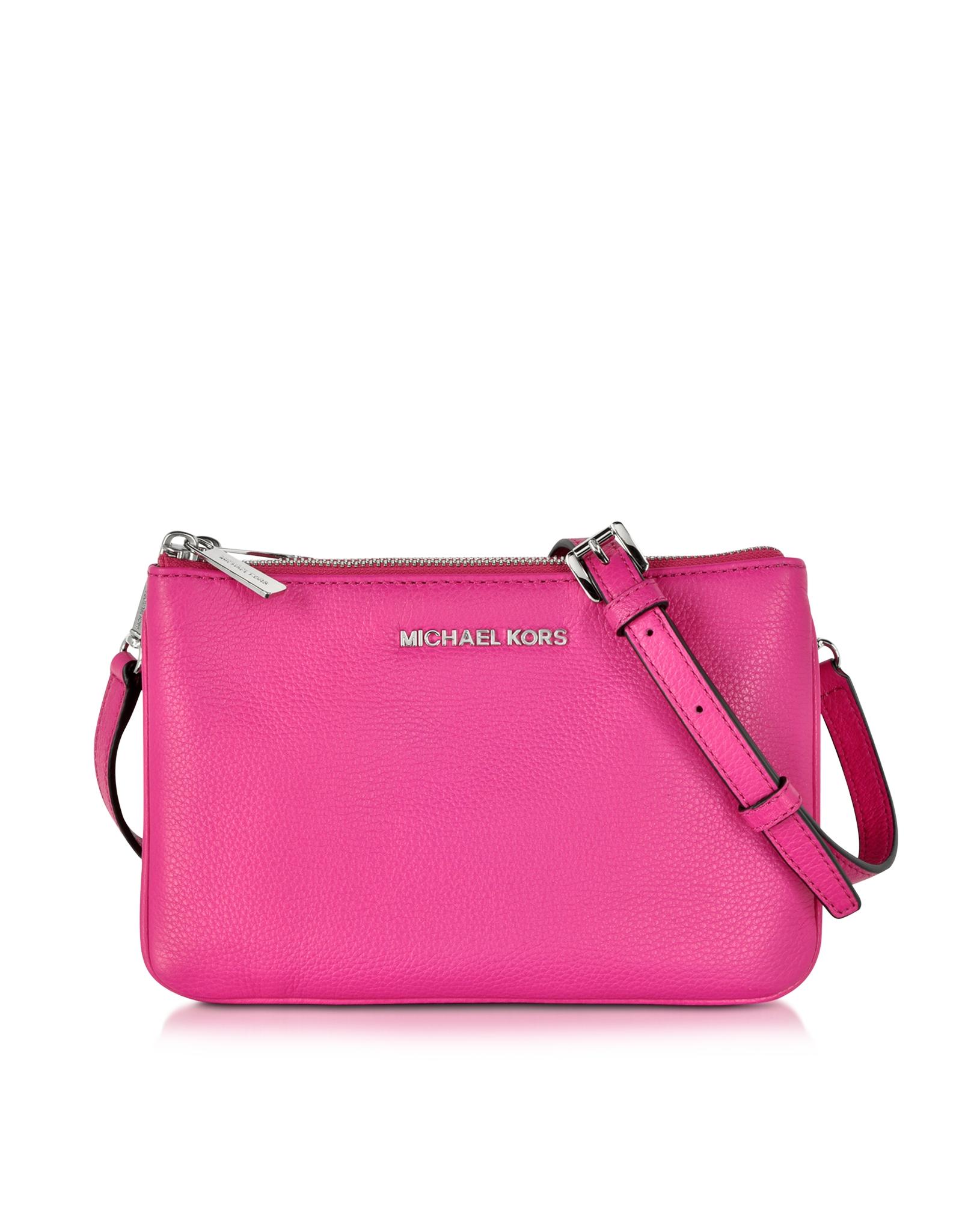527fdcb581d3 Lyst - Michael Kors Bedford Raspberry Leather Gusset Crossbody Bag ...