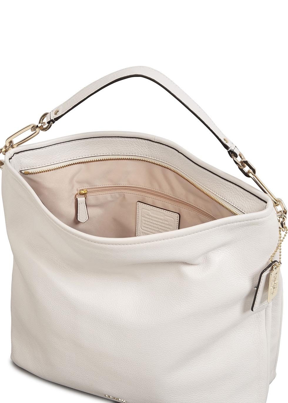 COACH Madison White Grained Leather Hobo Bag in White - Lyst 93081829bf