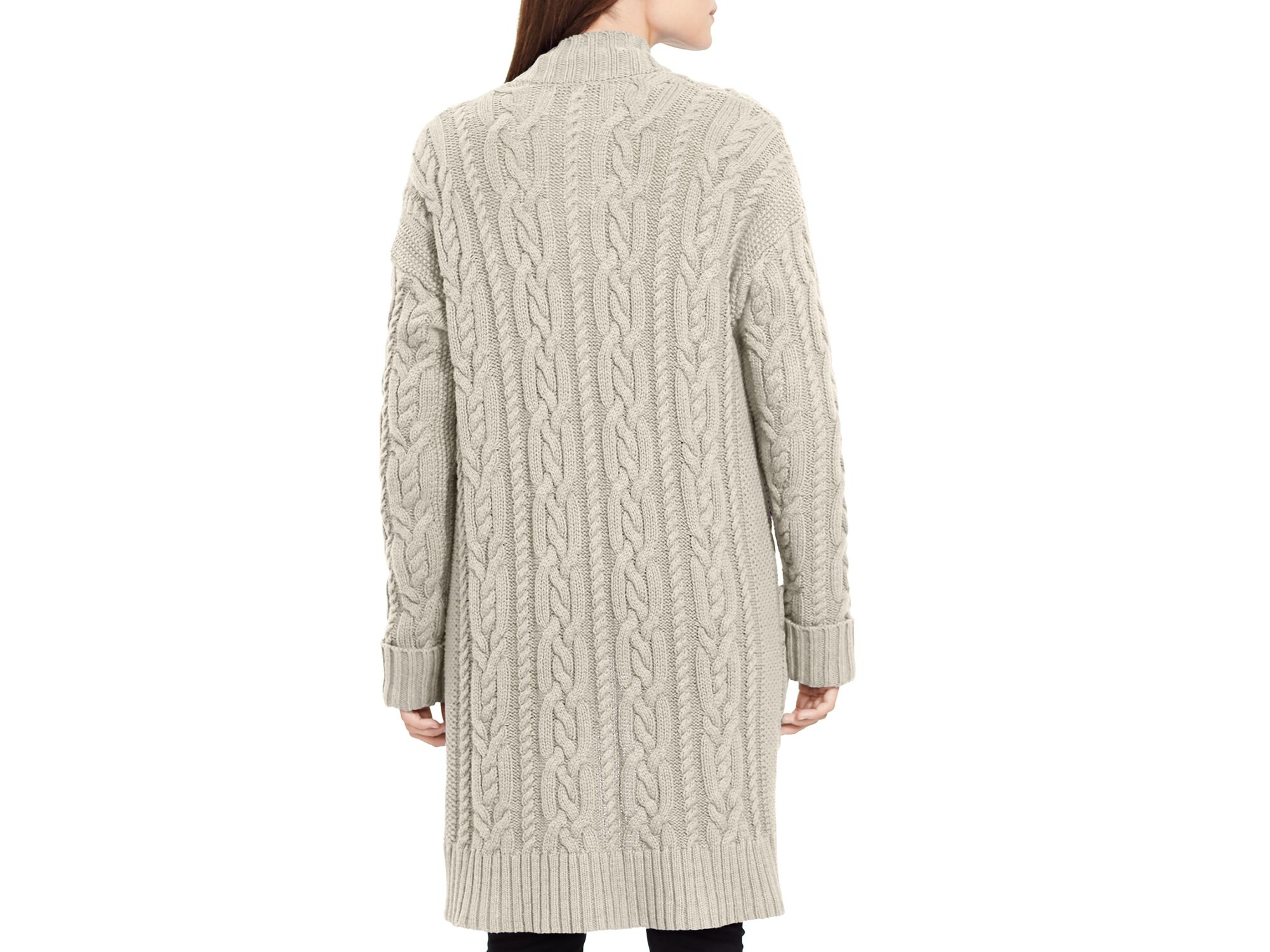 Ralph lauren Lauren Wool-cashmere Cable Knit Cardigan in Gray | Lyst