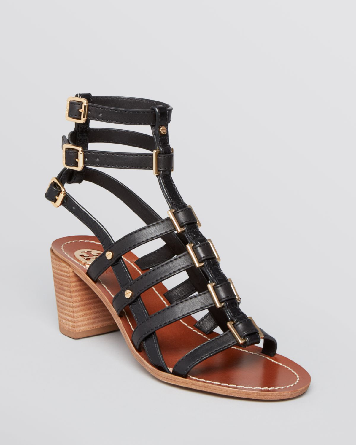 Tory Burch Gladiator Sandals Reggie Block Heel In Black Lyst