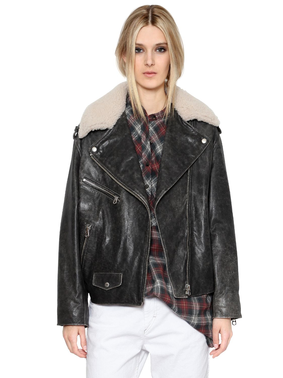 Étoile isabel marant Leather Jacket With Shearling Collar in Black ...