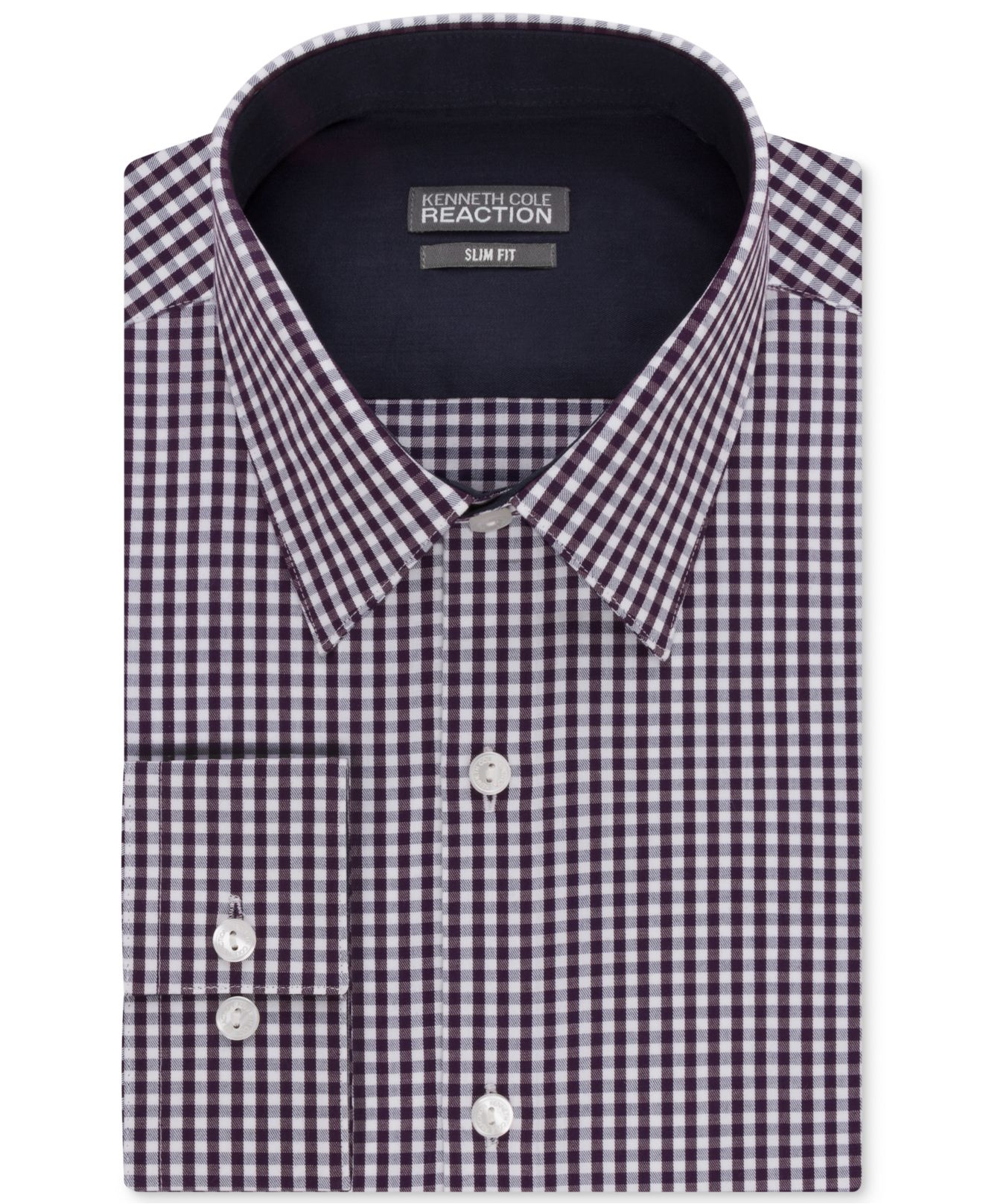 Kenneth cole reaction purple extra slim fit gingham for Extra slim dress shirt