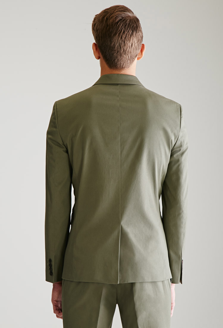 Forever 21 Two Button Chino Suit Jacket In Green For Men Lyst Tailored With Twin Buttons Gallery