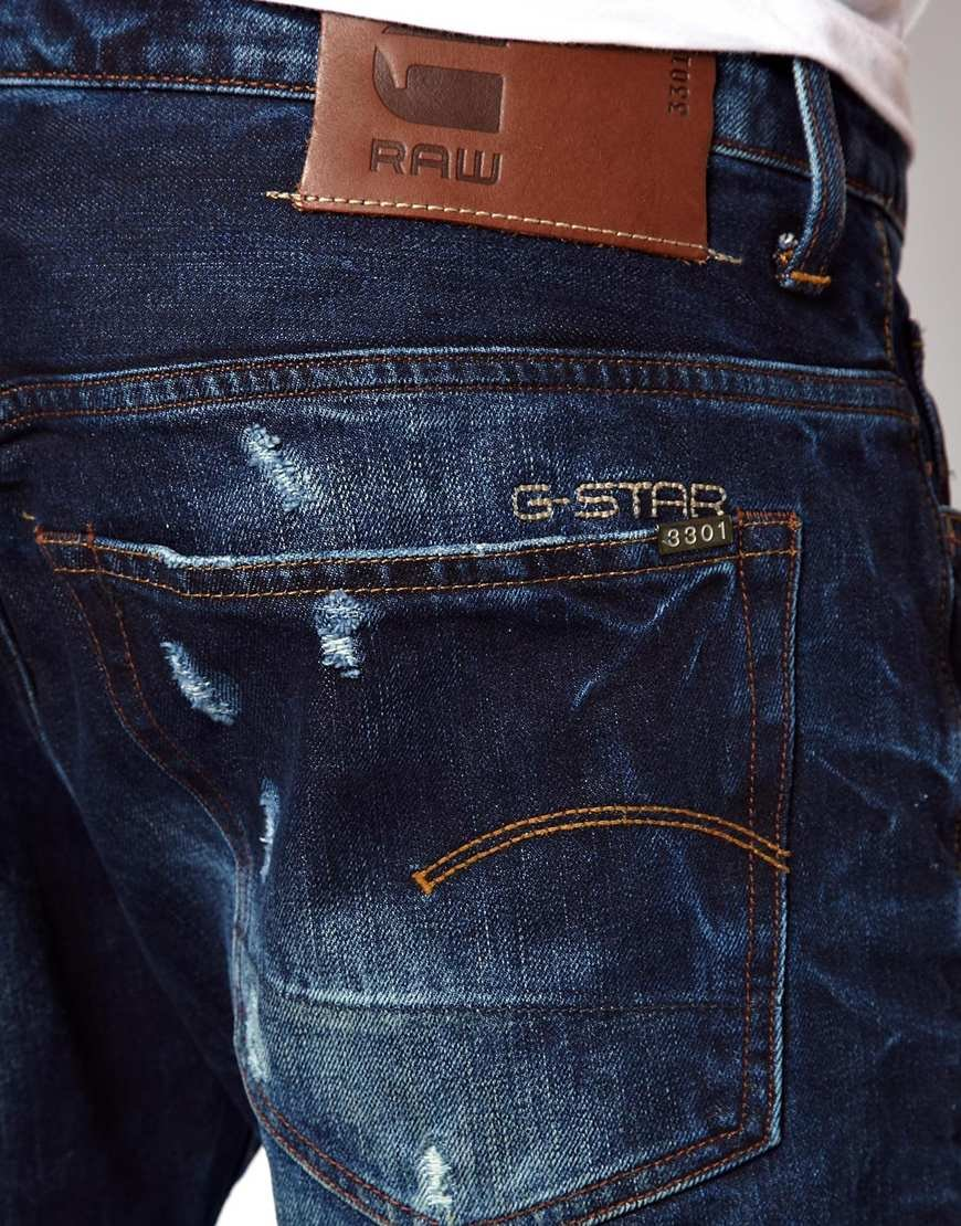 star raw g star jeans 3301 low tapered fit medium aged in blue for. Black Bedroom Furniture Sets. Home Design Ideas