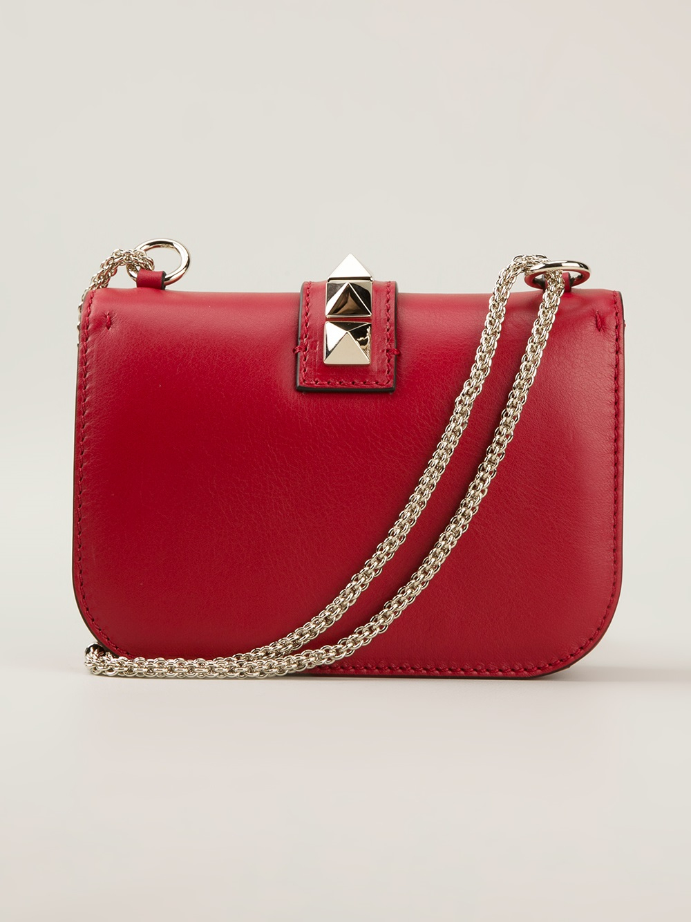 Valentino Rockstud Shoulder Bag In Red Lyst