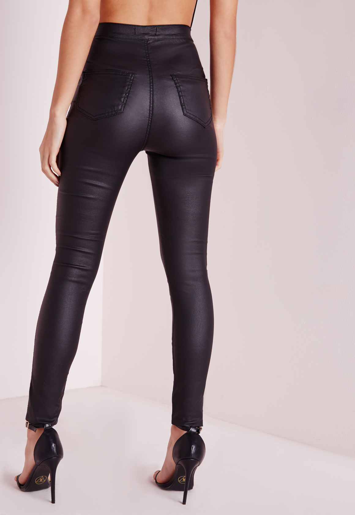 Lyst Missguided Vice Super Stretch Wet Look High Waisted