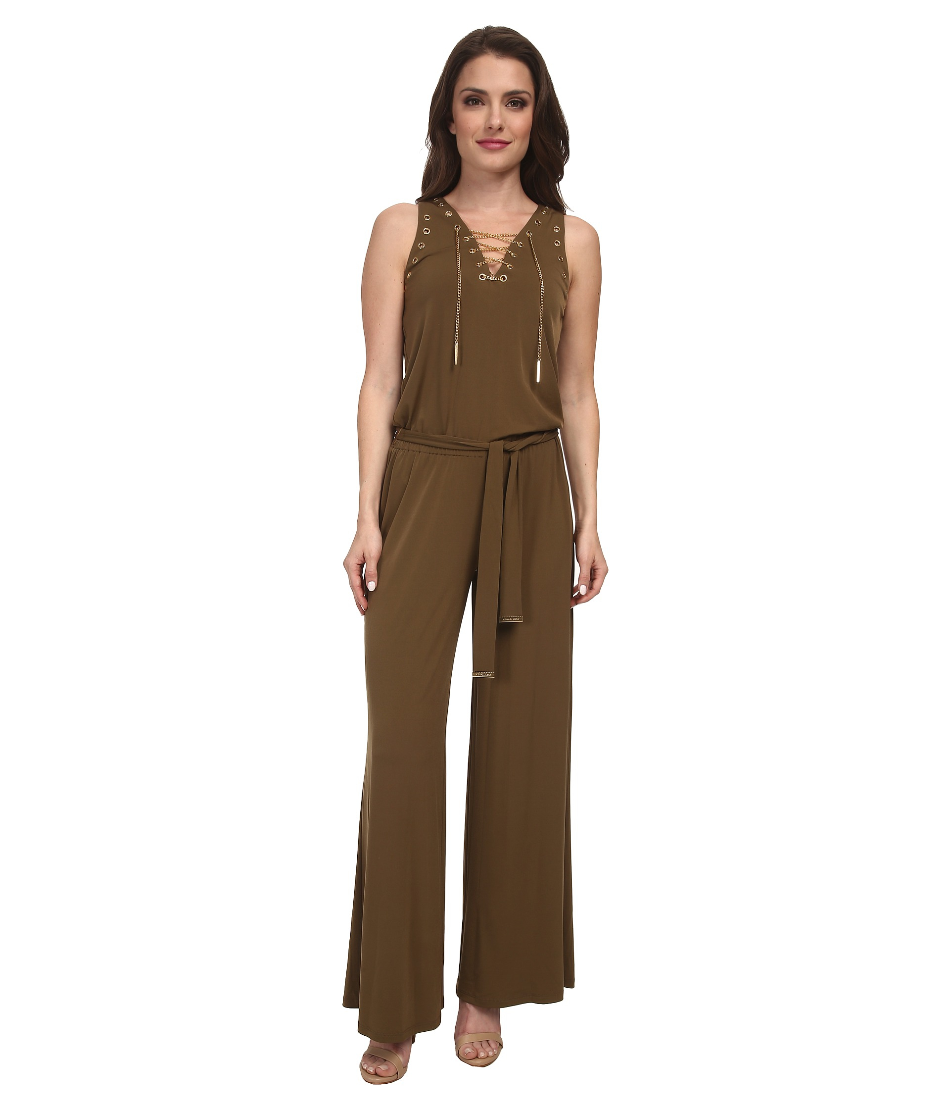 michael michael kors petite sleeveless lace up jumpsuit in green lyst. Black Bedroom Furniture Sets. Home Design Ideas