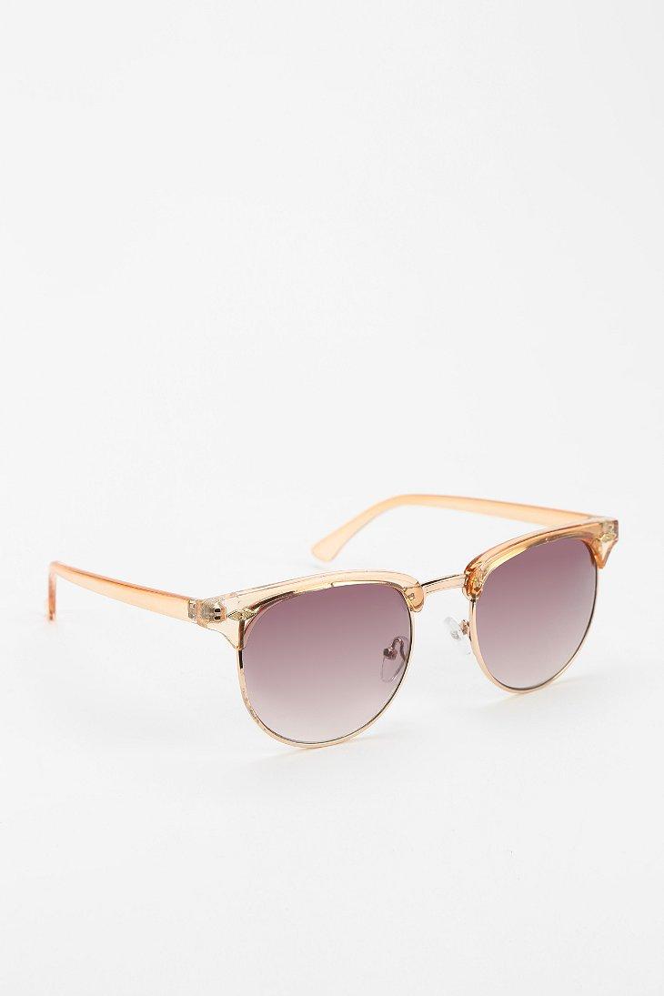 Urban outfitters Skylar Half-frame Sunglasses in Beige ...