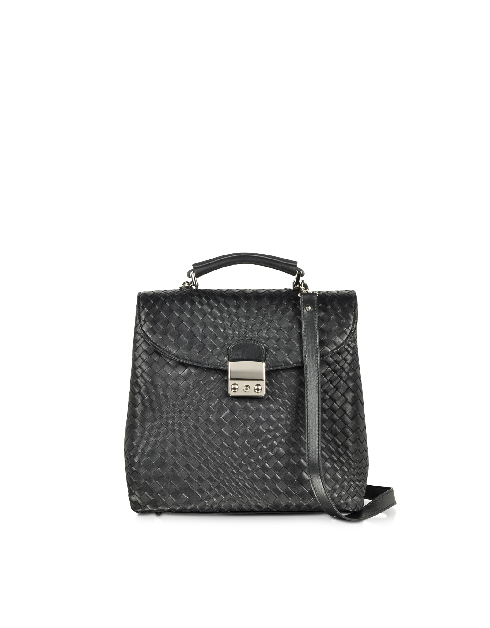 Forzieri Black Woven Leather Vertical Messenger in Black ...